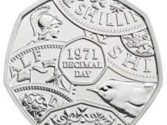 The reverse of a 50p coin commemorating the 50th anniversary of Decimal Day (Royal Mint/PA)