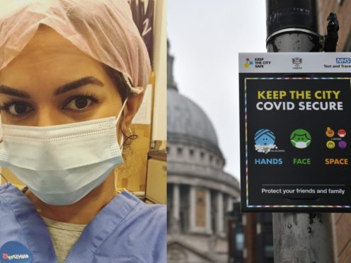 Ameera Sheikh, 28, a Unite union rep and ICU nurse at an NHS London, and a sign in London (Ameera Sheikh and Dominic Lipinski/PA)