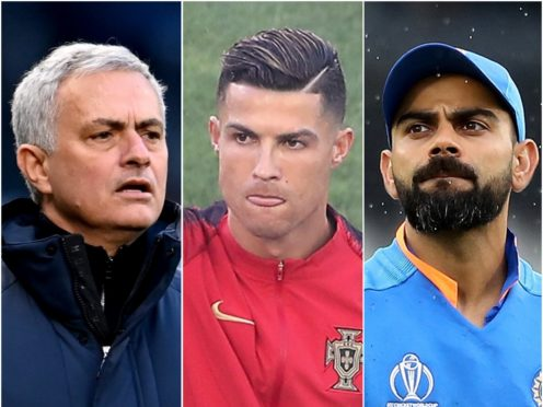 Jose Mourinho (left), Cristiano Ronaldo (centre) and Virat Kohli posted New Year messages (Andy Rain/Tim Goode/Martin Rickett/PA)