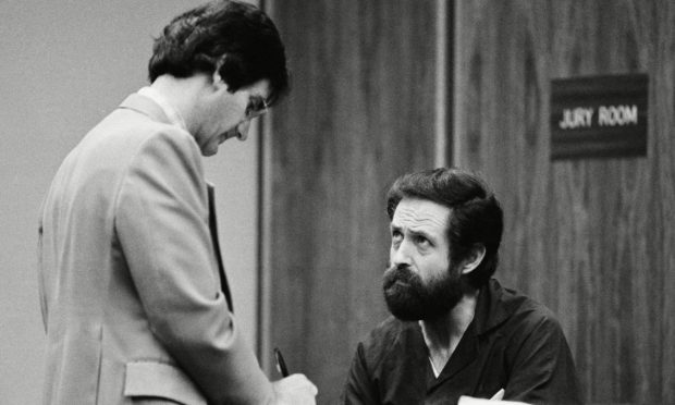 Arthur Jackson confers with his defence agent Steve Moyer in Santa Monica before his trial.
