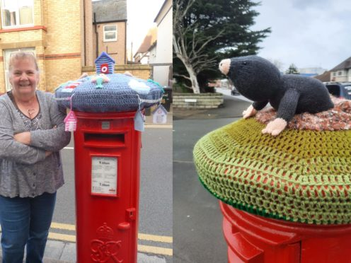 Rachel Williamson, a retired police officer, has been making post box toppers in Rhyl, Wales, during the coronavirus pandemic (Ruth Williamson)