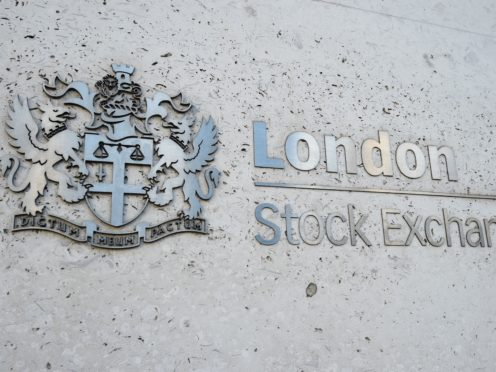 A view of the London Stock Exchange sign in the City of London, as the FTSE 100 Index slipped lower on Monday (Kirsty O'Connor/PA)
