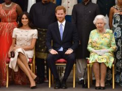 The Sussexes with the Queen (John Stillwell/PA)