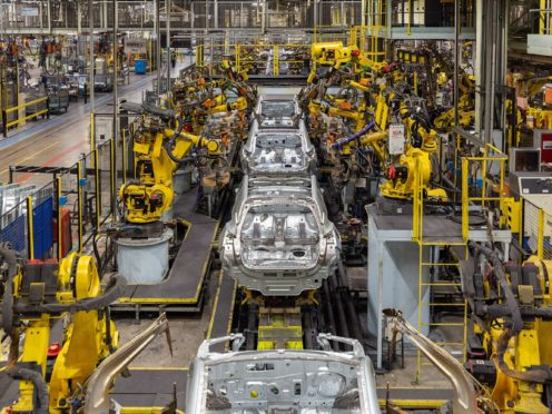 EMBARGOED TO 1215 ON THURSDAY OCTOBER 10 Undated handout photo issued by Nissan of new models of the Juke being assembled. Production of the new model begins in the UK next week following a ??100m investment, the Japanese car giant has said.