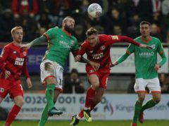 Scunthorpe forward Kevin Van Veen (centre left) had been out with a hamstring problem (Jonathan Brady/PA)