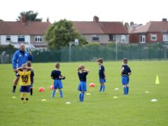 Whitley Bay Sporting Club Under-6's hold their first training session back at Valley Gardens, Whitley Bay, following the Coronavirus outbreak.