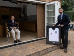 David Beckham with Sir Tom Moore (Eddie Keogh/FA)
