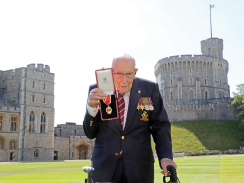 Captain Sir Thomas Moore after he received his knighthood from the Queen (Chris Jackson/PA)