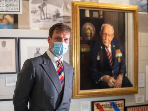 Artist Alex Chamberlin painted a portrait of Captain Sir Tom Moore to mark the 75th anniversary of VJ Day (Victoria Jones/PA)