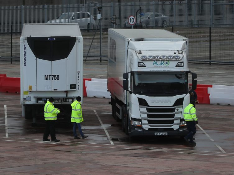 Lorries in the Department of Agriculture, Environment and Rural Affairs (DAERA) site in Duncrue Street, near Belfast port (PA)