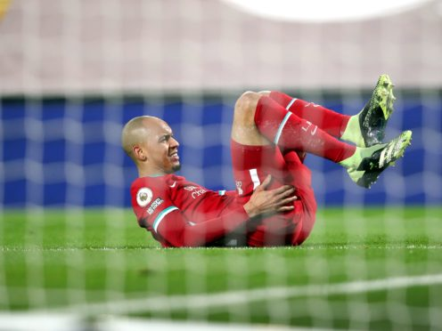 Fabinho will not be fit for the Merseyside derby (Clive Brunskill/PA)
