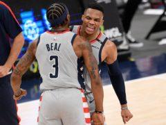 Washington Wizards guard Russell Westbrook celebrates with guard Bradley Beal (Nick Wass/AP)