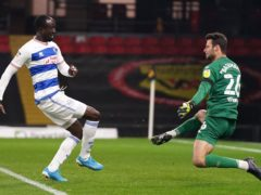 Albert Adomah, left, scores the winning goal (John Walton/PA)
