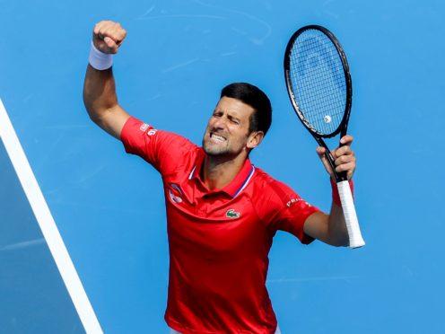 Novak Djokovic claimed a 7-5 7-5 victory over Canada's Denis Shapovalov at the ATP Cup (Hamish Blair/AP)