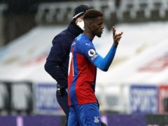 Wilfried Zaha was forced off against Newcastle by a hamstring problem (Lee Smith/PA)