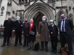 (L to R) Mark Turnbull, Terry Renshaw, Harry Chadwick, Eileen Turnbull, John McKinsie Jones with wife Rita McKinsie Jones and lawyer Jamie Potter, outside Royal Courts Of Justice in London (Victoria Jones/PA)