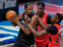 Kevin Durant, left, during the first half of the Brooklyn Nets' game against the Toronto Raptors (Frank Franklin II/AP)