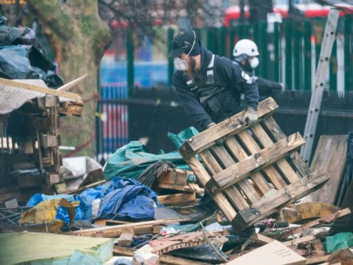 Enforcement officers continue efforts to remove protestors from underground tunnels at the HS2 Rebellion encampment in Euston Square Gardens in central London. Picture date: Saturday February 6, 2021.