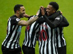 Newcastle's Joe Willock, right, celebrates his debut goal against Southampton (Owen Humphreys/PA)