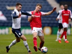 Rotherham midfielder Jamie Lindsay (right) was forced off early on against Preston through injury (Tim Markland/PA)