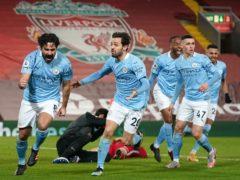Manchester City's Ilkay Gundogan (left) celebrates the opening goal (Jon Super/PA)