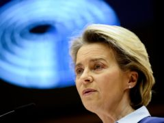 European Commission president Ursula von der Leyen speaks during a debate on the united EU approach to Covid-19 vaccinations at the European Parliament in Brussels (Johanna Geron, Pool via AP)