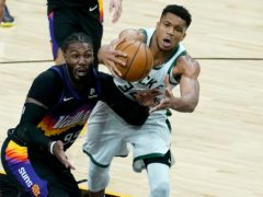 Milwaukee Bucks forward Giannis Antetokounmpo in defeat to Phoenix (Matt York/AP)