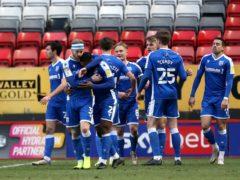 Gillingham's Kyle Dempsey (centre) celebrates the winner against Charlton (Steven Paston/PA).