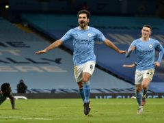Ilkay Gundogan, left, starred again as Manchester City extended their lead at the top of the Premier League (Rui Vieira/PA)