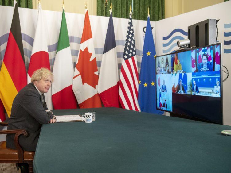Boris Johnson hosting the G7 leaders for a virtual meeting (Geoff Pugh/Daily Telegraph/PA)