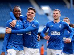 Rangers' Joe Aribo (left) celebrates after netting against Dundee United (Jane Barlow/PA)