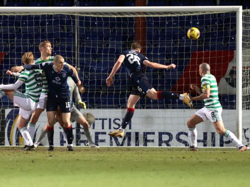 Ross County's Jordan White scores the only goal against Celtic (Jeff Holmes/PA)