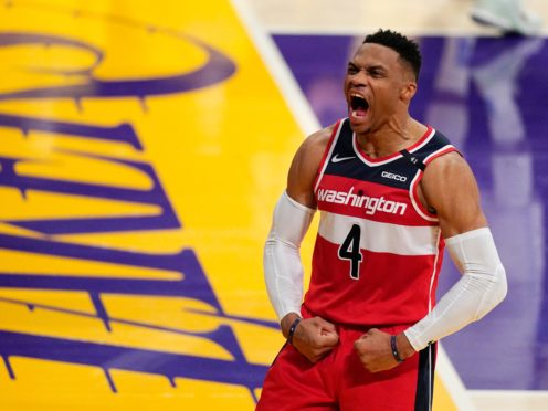 Washington Wizards guard Russell Westbrook celebrates against the Los Angeles Lakers (Mark J Terrill/AP).