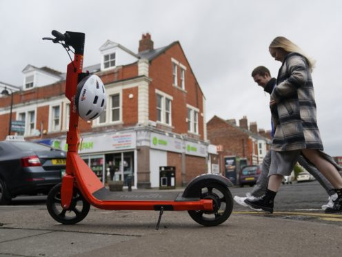 An e-scooter in Jesmond, Newcastle, where a fleet of 250 orange electric scooters has been opened up to the public (Owen Humphreys/PA)