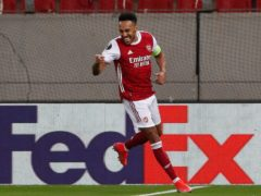 Pierre-Emerick Aubameyang struck twice as Arsenal defeated Benfica (Thanassis Stavrakis/AP)