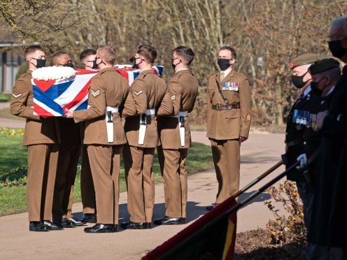 The coffin of Captain Sir Tom Moore is carried by members of the Armed Forces (Joe Giddens/PA)