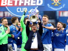 St Johnstone manager Callum Davidson lifts the Betfred Cup trophy (Jeff Holmes/PA)