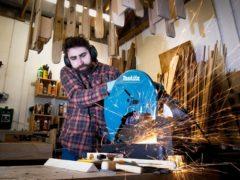 Jamie Kunka works on a pair of skis in his workshop in Birnam, Perthshire (Jane Barlow/PA)
