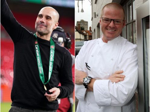 Pep Guardiola, left, is football's Heston Blumenthal according to his opposite number on Saturday (PA)