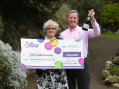 National Lottery Winners Brian and Julie Courtney of Weston Super Mare celebrate their £500,000 win(Martin Bennett/The National Lottery)