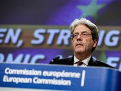European commissioner for economy Paolo Gentiloni speaks during an online news conference at the European Commission headquarters in Brussels (Kenzo Tribouillard/Pool Photo via AP)