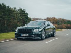 The huge front grille of the Flying Spur is hard to miss