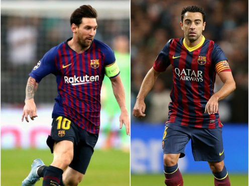 Lionel Messi, left, is set to break Xavi's Barcelona appearance record (Nick Potts/Peter Byrne/PA)
