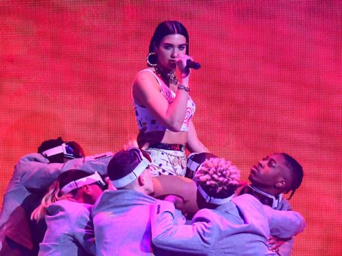 Dua Lipa performs on stage at the Brit Awards 2019 (Victoria Jones/PA)