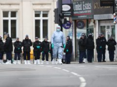 Police activity at the scene following the terror attack in Streatham High Road, south London by Sudesh Amman, 20, who was shot dead by armed police following what police declared as a terrorist-related incident (PA)