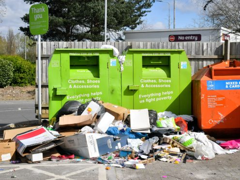 Rubbish piles up at a recycling centre in Bristol (PA)
