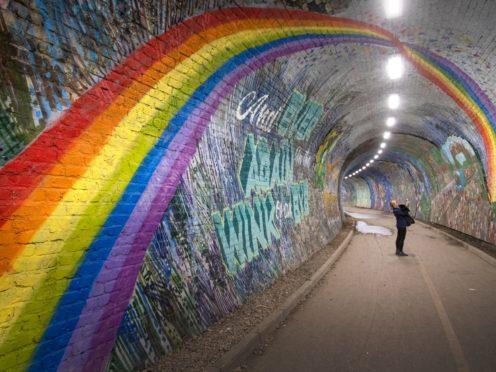 A rainbow mural in Colinton Tunnel, Edinburgh, seen in April 2020 (Jane Barlow/PA)