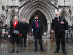Eileen Turnbull, Mark Turnbull, Harry Chadwick and Terry Renshaw outside the The Royal Courts Of Justice, ahead of a hearing for the so-called Shrewsbury 24 (Victoria Jones/PA)