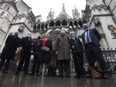 (Left to right) Mark Turnbull, Terry Renshaw, Harry Chadwick, Eileen Turnbull, John McKinsie Jones with wife Rita McKinsie Jones outside the The Royal Courts Of Justice ahead of an earlier hearing (Victoria Jones/PA)