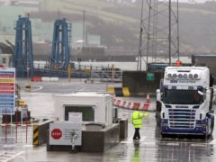 Trucks leaving Larne Port (PA)
